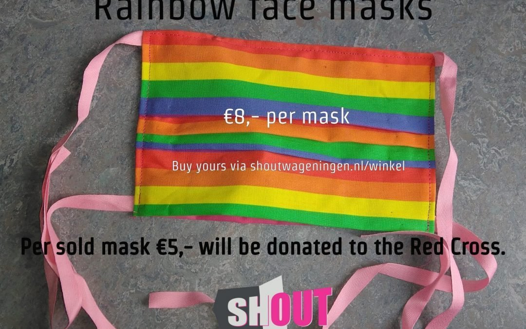 SHOUT sells rainbow face mask for the Red Cross